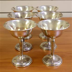 Vintage Set of Six Sterling Silver Champagne Coupes or