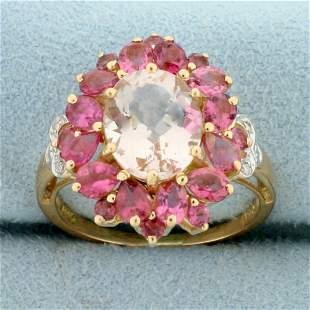 5ct TW Morganite, Pink Tourmaline and Diamond Ring in