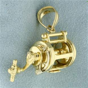 Fishing Reel Mechanical Pendant in 14K Yellow Gold