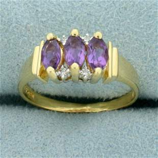 1ct TW Amethyst and Diamond Ring in 14K Yellow Gold