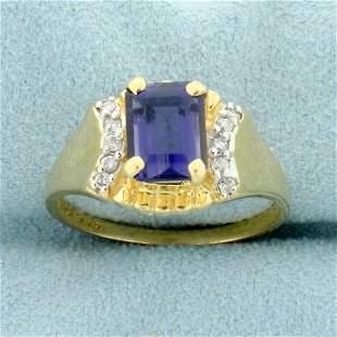 1.5ct Tanzanite and Diamond Ring in 14K Yellow Gold