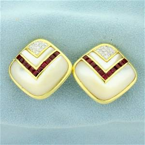 Ruby, Mother of Pearl and Diamond Clip-On Earrings for