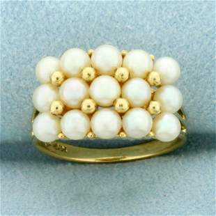 Vintage Cultured Pearl Ring in 14K Yellow Gold