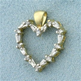 Round and Baguette Diamond Heart Pendant in 14K Yellow