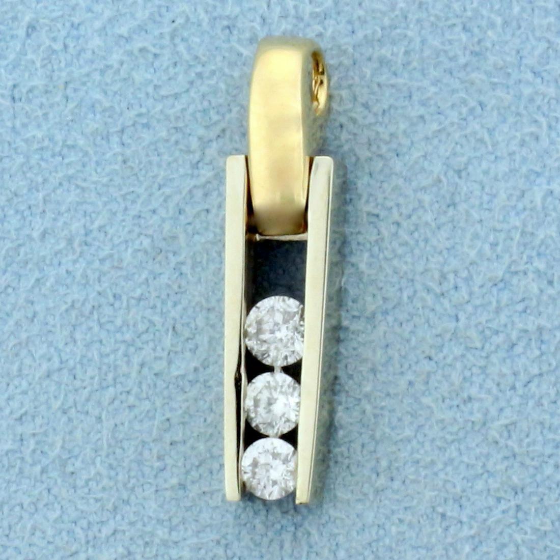 Three Stone Diamond Pendant in 14K Yellow and White