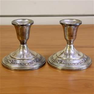 Damask Rose Sterling Silver Candlesticks