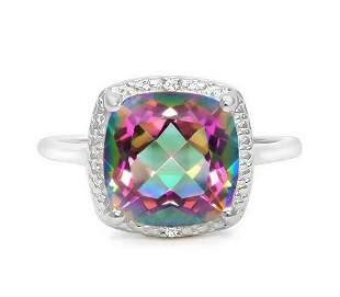 Huge 4.2CT Cushion Cut Mystic Topaz & Diamond Ring in
