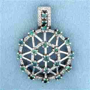 Art Deco Style Green Sapphire and Diamond Pendant in