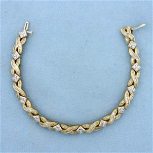 3ct TW Baguette and Round Diamond Bracelet In 14K