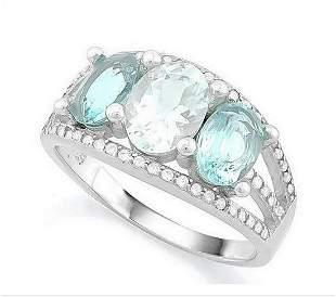 Aquamarine & Sky Blue Topaz Ring in Sterling Silver