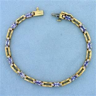 3ct TW Natural Tanzanite and Diamond Bracelet in 14K