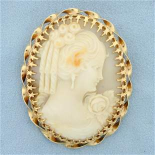 Large Vintage Cameo Pin or Pendant in 14K Yellow Gold