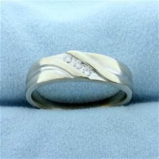 Men's Three-Stone Diamond Wedding Band Ring in 10K