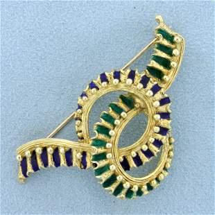 Vintage Enamel Pin in 14K Yellow Gold