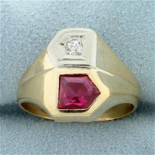 Antique Fancy Cut Natural Ruby and Old European Cut