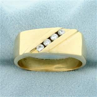 Men's Four Stone Diamond Ring in 14K Yellow Gold