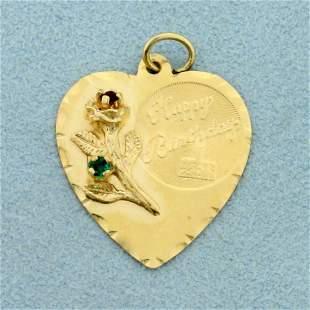 Heart Happy Birthday Pendant in 14K Yellow Gold