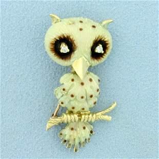Diamond Enamel Owl Pin or Pendant in 14K Yellow Gold
