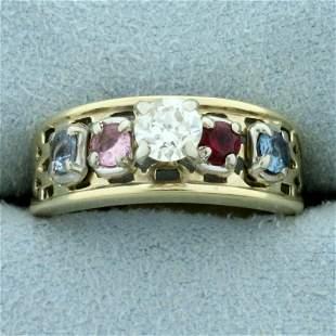 Vintage 3/4ct TW Diamond, Ruby, Sapphire, and Topaz