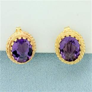8ct TW Amethyst Earrings in 14K Yellow Gold