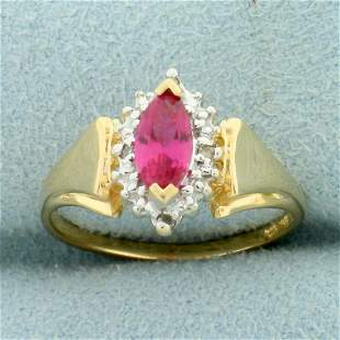 Lab Pink Sapphire and Diamond Ring in 10K Yellow Gold