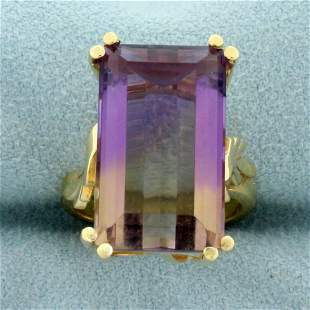 11ct Ametrine Solitaire Statement Ring in 14K Yellow