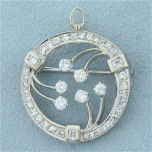 1.5ct TW Diamond Abstract Design Circle Pendant or Pin