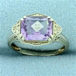 Amethyst Art Deco Ring in 18K White Gold