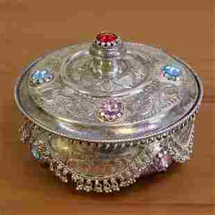 Vintage Sterling Silver Gemstone Jewelry Box
