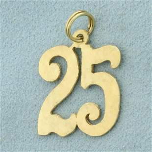 25 Birthday Pendant in 14K Yellow Gold