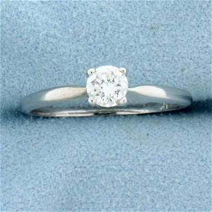 Diamond Solitaire .4ct Engagement Ring in 14K White