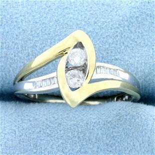 Two Tone Designer Diamond Ring in 10K White and Yellow