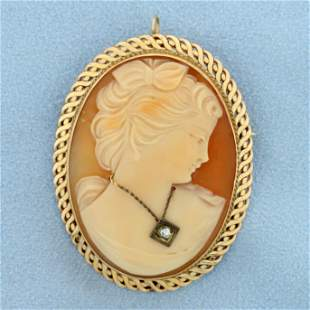 Large Vintage Diamond Cameo Pendant or Pin in 14K
