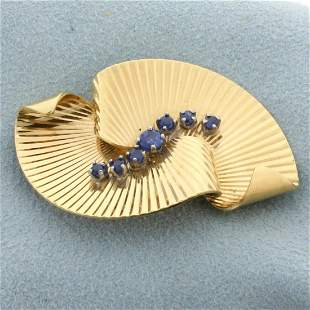 Abstract Fan Design Sapphire Pin in 14K Yellow Gold