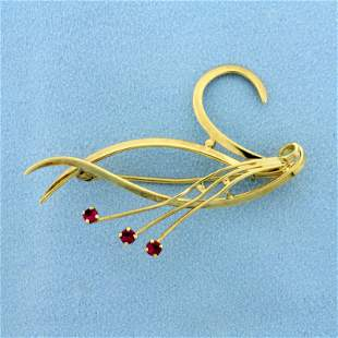 Abstract Design Ruby Pin in 14K Yellow Gold