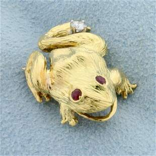 Ruby and Diamond Frog Pin in 18K Yellow Gold