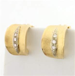 Diamond Textured Half Hoop Clip On Earrings for Non