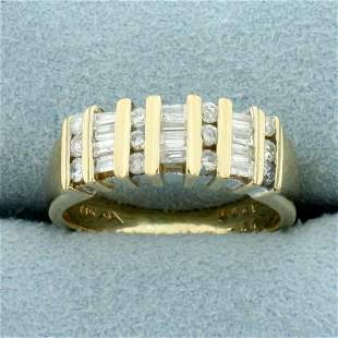 1/2ct TW Round and Baguette Diamond Channel Set Wedding