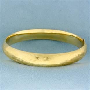 Flower Design Etched Bangle Bracelet in 14K Yellow Gold