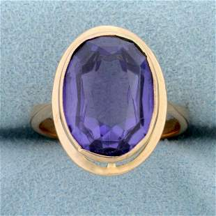 Vintage 9ct Sapphire Solitaire Statement Ring in 14K