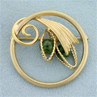 Jade Bead Abstract Design Pin in 14K Yellow Gold