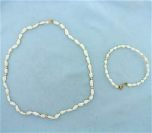 Gold Bead and Baroque Pearl Necklace and Bracelet Set