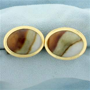 Ming's Agate Cuff Links in 14K Yellow Gold