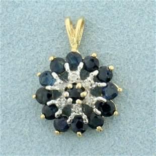 1ct TW Sapphire and Diamond Target Pendant in 14K