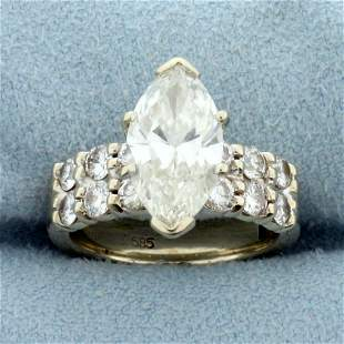 3ct TW Marquise Diamond Engagement Ring With Adjustable