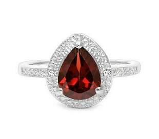 1.4CT Garnet & Diamond Halo Ring in Sterling Silver