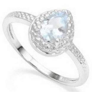 Aquamarine & Diamond Halo Ring in Sterling Silver