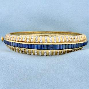 Designer 5ct TW Natural Sapphire and Diamond Bangle