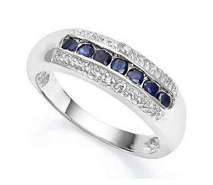 Sapphire & Diamond Line Ring in Sterling Silver