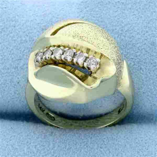 Unique Art Deco Style Diamond Ring in 14K Yellow Gold